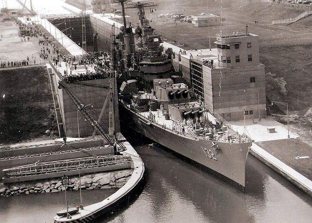 The St. Lawrence Seaway is opened April 24, 1959 - USS-Macon-St.-Lawrence-Seaway by jcbenware, via Flickr
