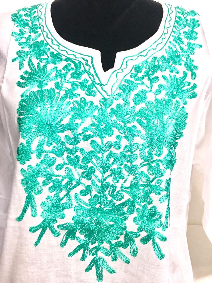 Excited to share the latest addition to my #etsy shop: Cotton tunic, Kurti, Kurta, top, cover up, hand embroidered, floral, ethnic, Indian, boho, Mexican tunic white sea green Large long sleeve