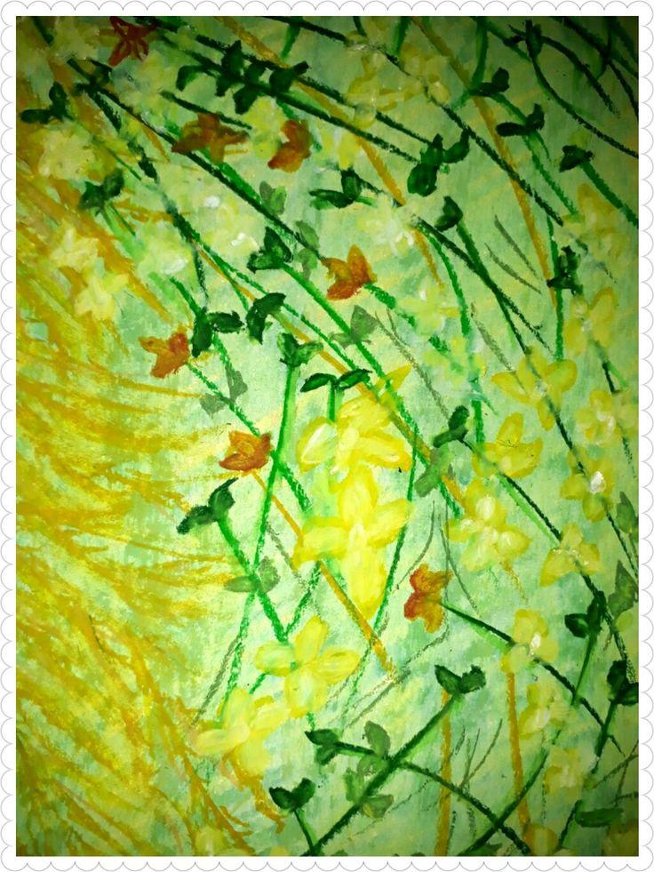 Romantic pieces,oil pastel on paper,20×30