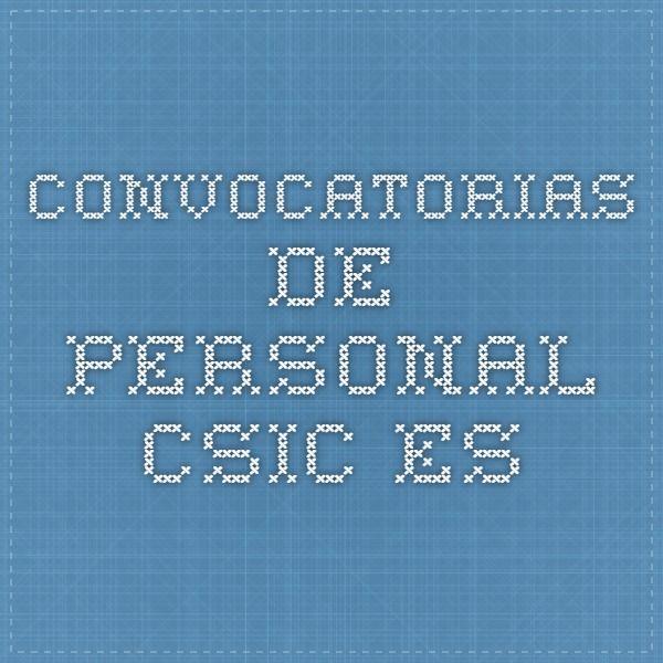 convocatorias de personal - csic.es