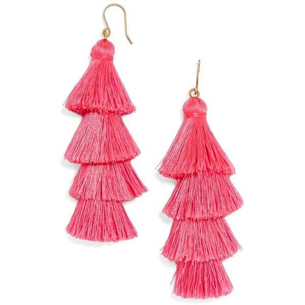 Women's Baublebar Gabriela Fringe Earrings ($38) ❤ liked on Polyvore featuring jewelry, earrings, bright pink, earring jewelry, tassel earrings, fringe jewelry, baublebar jewelry and baublebar