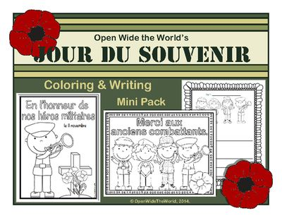 French+Coloring+&+Writing+Remembrance+/+Veterans+Day+Mini+Pack+from+Open+Wide+the+World+on+TeachersNotebook.com+-++(9+pages)++-+Observe+Remembrance+Day+(aka+Veterans+Day+or+Jour+du+Souvenir)+in+your+French+immersion/dual+language+immersion+programs+with+this+mini+pack+of+coloring+sheets,+writing+papers,+and+a+bubble+map.