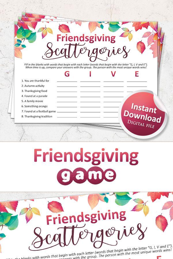 Friendsgiving Games Printable Scattergories Game For Etsy In 2020 Thanksgiving Games Friendsgiving Scattergories
