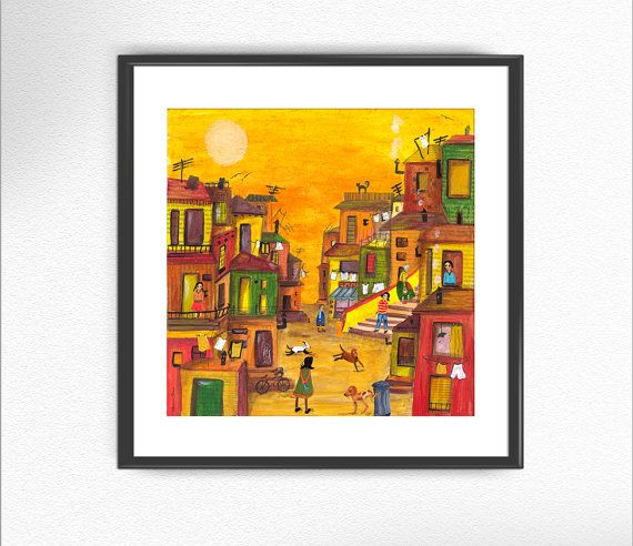 VALPARAÍSO, Chile print from of my original paintings / art print illustration nursery collage texture wall decor home decor original poster