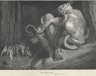 """The term """"Minoan"""" refers to the mythic """"king"""" Minos and was first used by Arthur Evans in archaeological contexts. Minos was associated in Greek myth with the labyrinth, which Evans identified with the site at Knossos.Minos, illustration by Gustave Doré for Dante Alighieri's Inferno."""
