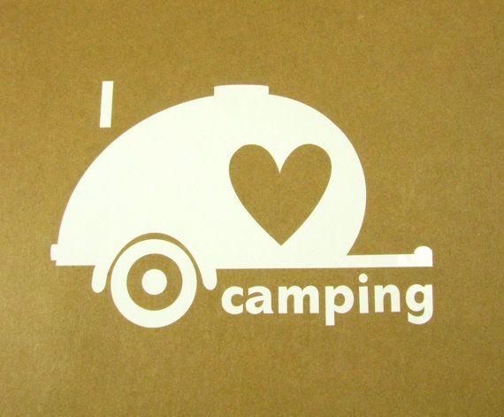 I love camping  teardrop car window decal.  Travel trailer. Teardrop trailer.  Camping gear.  Campground.  Teardrop camper.  Bumper sticker on Etsy, $5.00