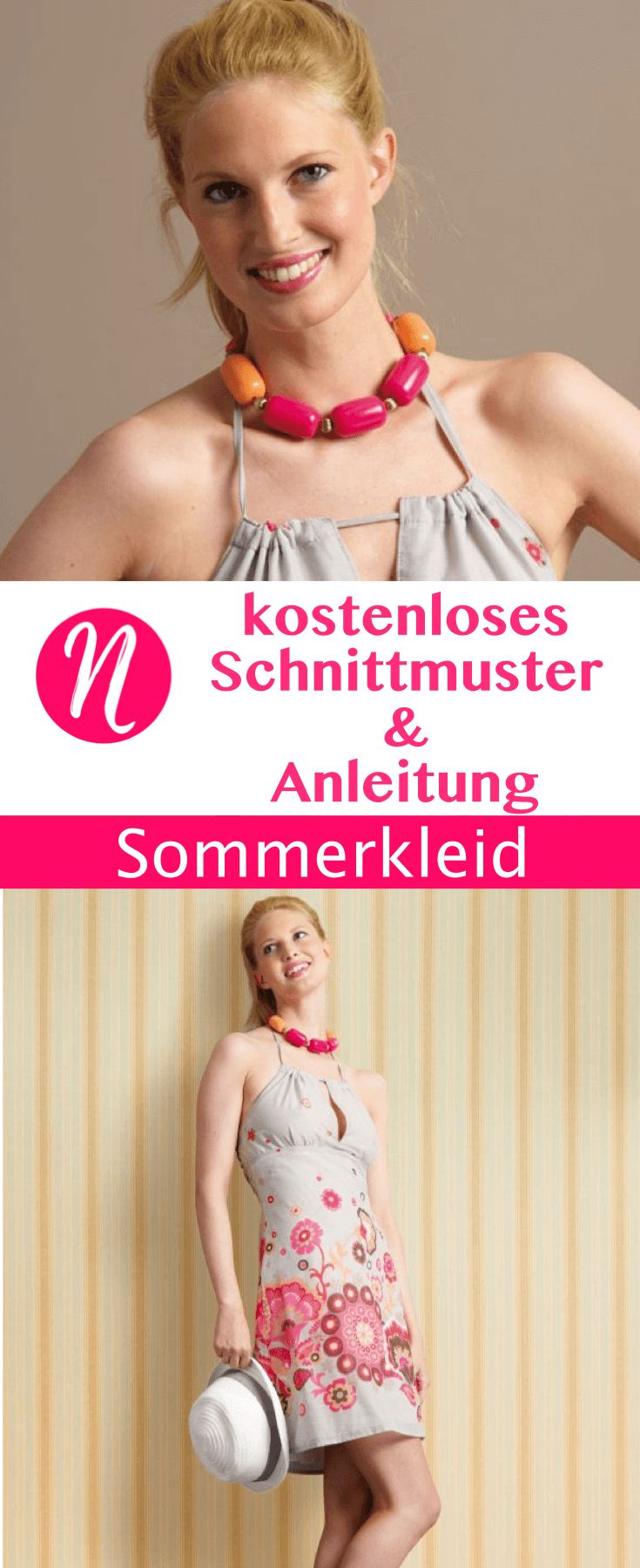 Schulterfeies Sommerkleid zum selber nähen. Gratis PDF-Schnittmuster zum Drucken in Gr. 34 - 46, mit Nähanleitung ✂ Jetzt Nähtalente.de besuchen ✂  Free sewing pattern for a summer day dress in sizes 34 - 46