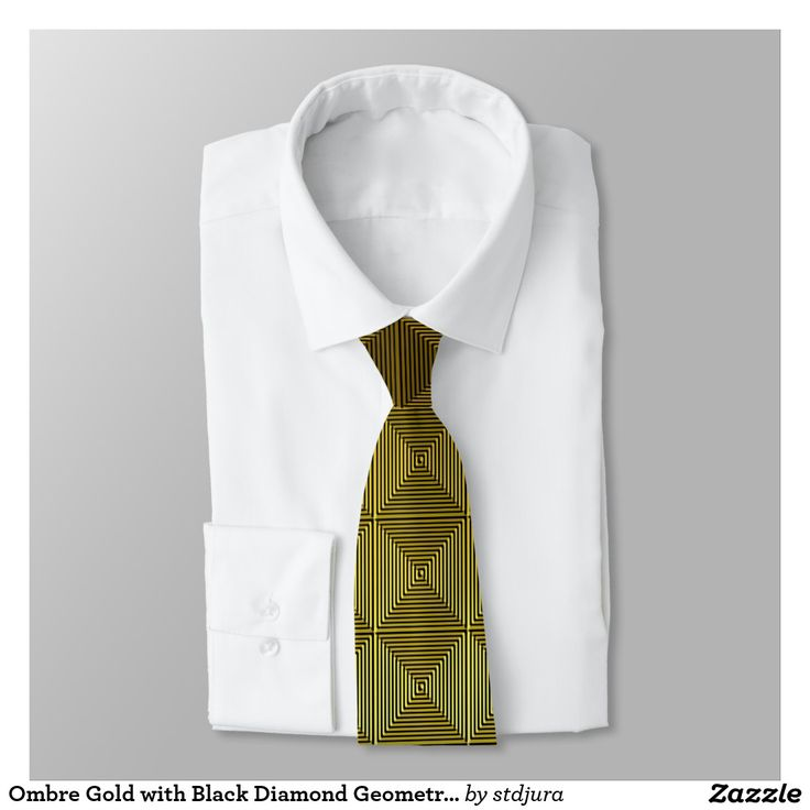Ombre Gold with Black Diamond Geometric Pattern Tie