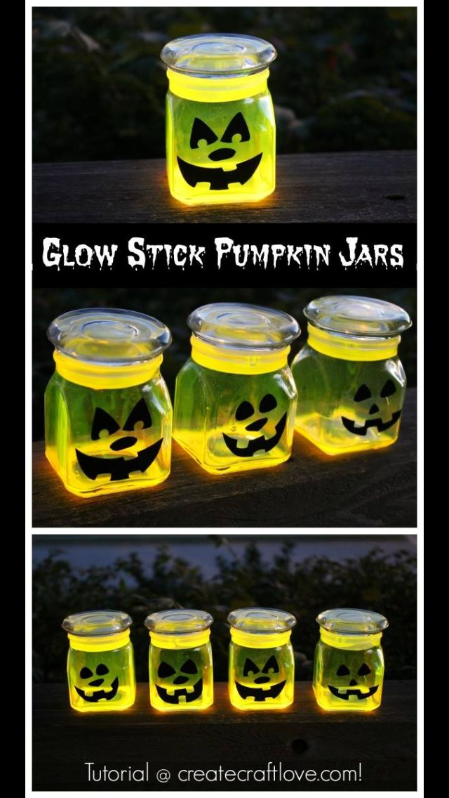 Glow Stick Jack-o-latern Jars
