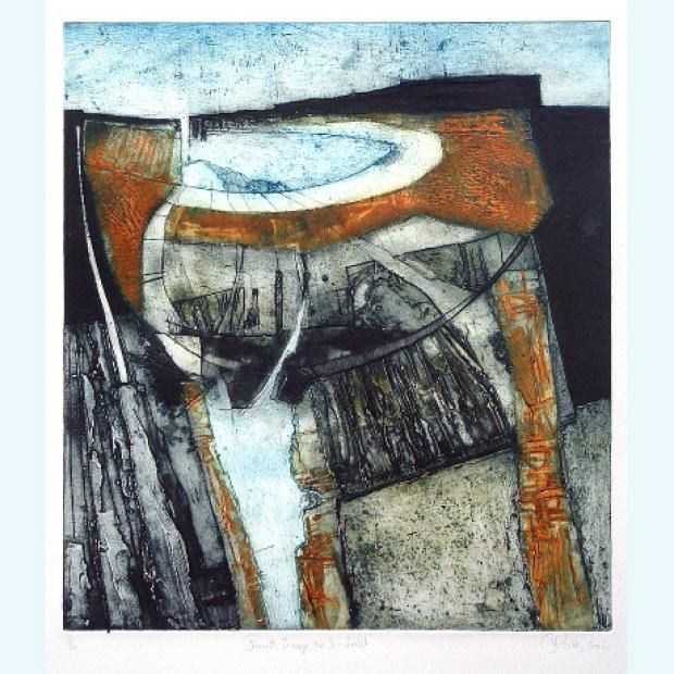 Collograph print by Peter Wray, Cornwall