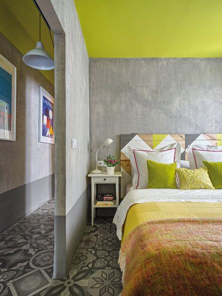 Dormitorio en gris y lima limón