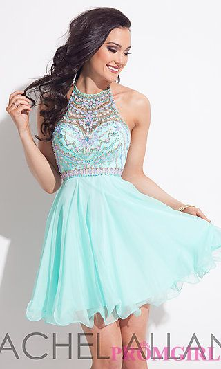 Short Illusion Sweetheart Dress with a Sheer Back by Rachel Allan at PromGirl.com