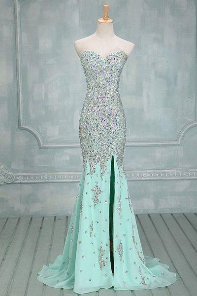 Mermaid mint prom dresses, rhinestone prom dresses, mermaid prom dresses…