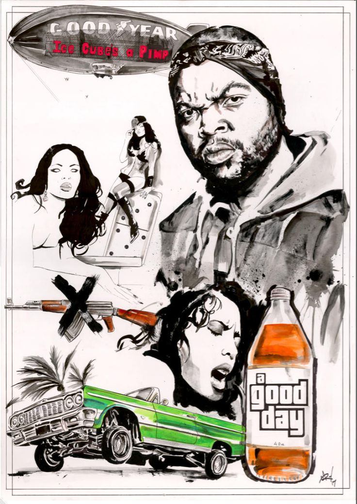 Ice Cube 'It Was A Good Day' A1 sized hand drawn pen and ink original artwork on board by GaryAlfordArt on Etsy