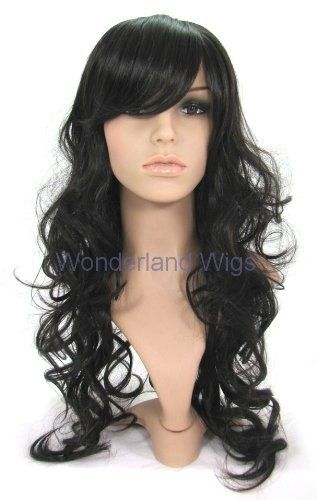 Long black curly wavy wig/wigs with side sweep fringe. ! by Wonderland Wigs. $39.99. 100% Kanekalon synthetic fibre - high quality natural look. Stunning long black curly wig. Length:65cm/25in. Discreet packaging. Same day despatch. NOTE: A genuine version of this item is ONLY available to buy from Wonderland Wigs. Other sellers are selling copies of this item and not a genuine 'Wonderland Wigs' branded item. You are likely to be very disappointed if you buy a cheap ...