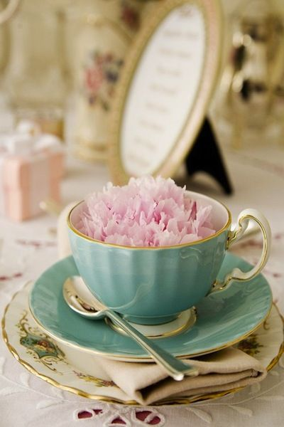Peony in a teacup.