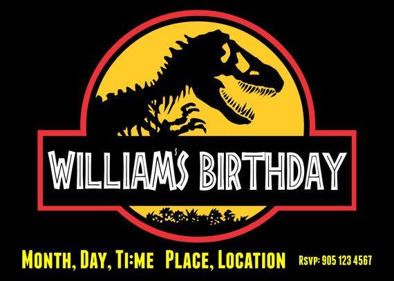 Jurassic Park Dinosaur Invitation for a Birthday Party Emmetts