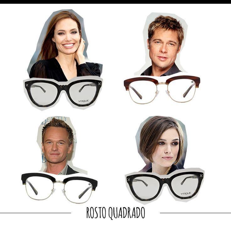 O rosto quadrado combina com óculos arredondados e ovalados, os menos angulares possíveis. O ideal é usar um modelo arredondado apenas nas laterias para suavizar as linhas da face. #FashionSSJ #tiposdeoculos #sunglasses