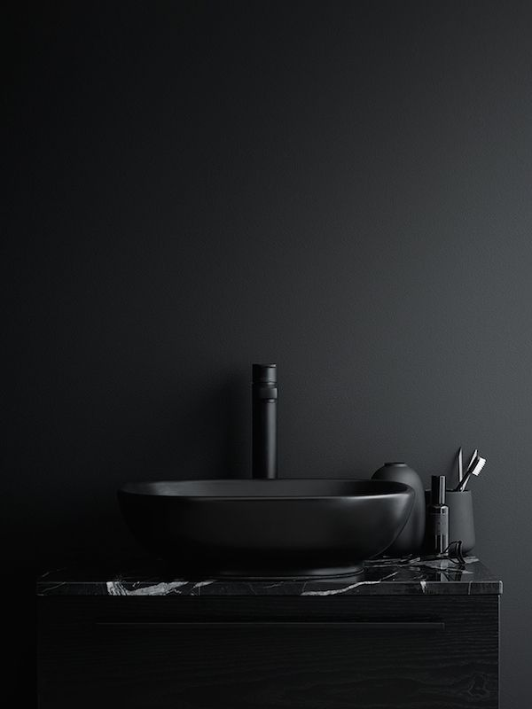 Some beautiful dark bathrooms styled by Swedish stylist  Lotta Agaton , the first two pictures are part of a home shown in Residence maga...