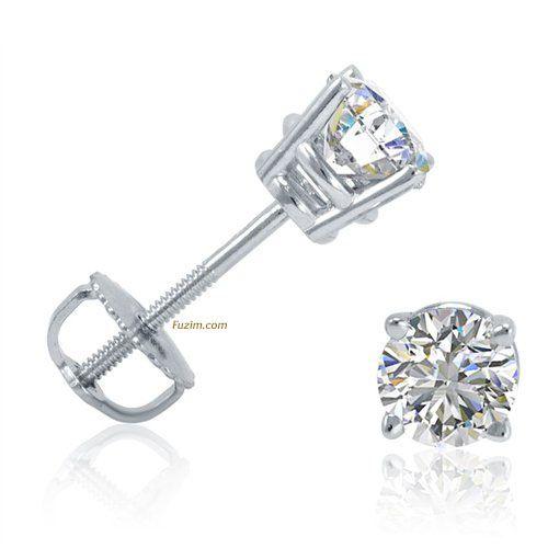1/2ct tw Round Diamond Stud Earrings set in 14K White Gold with Screw-Backs IGI Certified