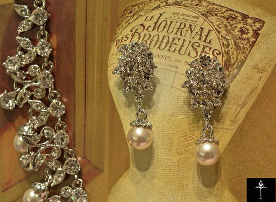 Classic Crystal Pearl Bridal Earrings- Wedding Pearl Set - Crystal Earrings - Wedding Jewelry- Crystal Wedding Set