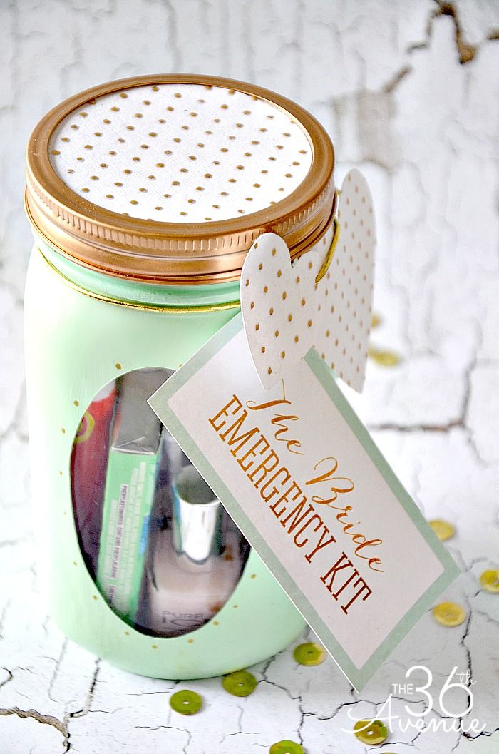Mason Jar Crafts - The Bride Emergency Kit and Free Printable at the36thavenue.com ...So cute!