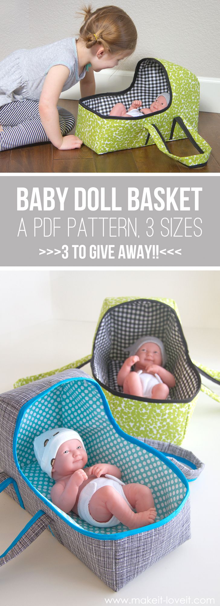 Baby Doll Basket Carrier...a PDF pattern, 3 sizes, plenty of pictures. 3 patterns to GIVE AWAY! | via Make It and Love It #make