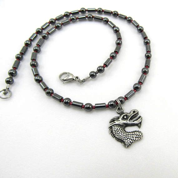 Boys Jewelry Dragon Charm Hematite Beaded Necklace for Kids