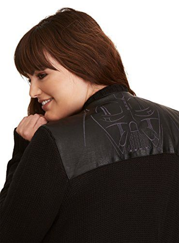 Star Wars Darth Vader Faux Leather Inset Cardigan  Special Offer: $64.90  344 Reviews This cardigan has a bit of a dark side. And we're obsessed! The heavier-weight black open stitch knit style rocks a casual draped open front. But because the force is strong with this style, we...