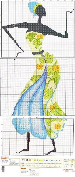 0 point de croix femme africaine robe bleue et verte cross stitch african woman in blue and green dress