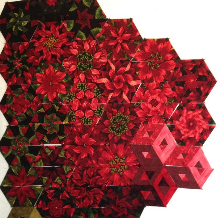 One Block Wonder with poinsettia fabric - isn't that pretty?