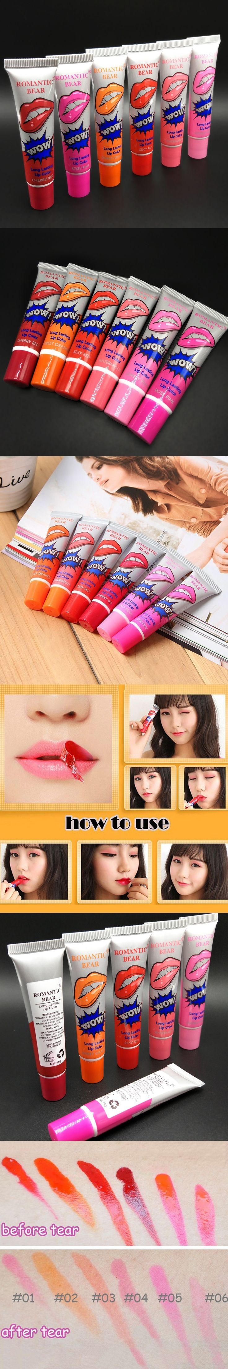 2017 hot!!6Colors Beauty Lip Gloss Tattoo Moisturizer Long Lasting Matte Lipstick Lipgloss Magic Color Liquid Red Lips Stick Mak