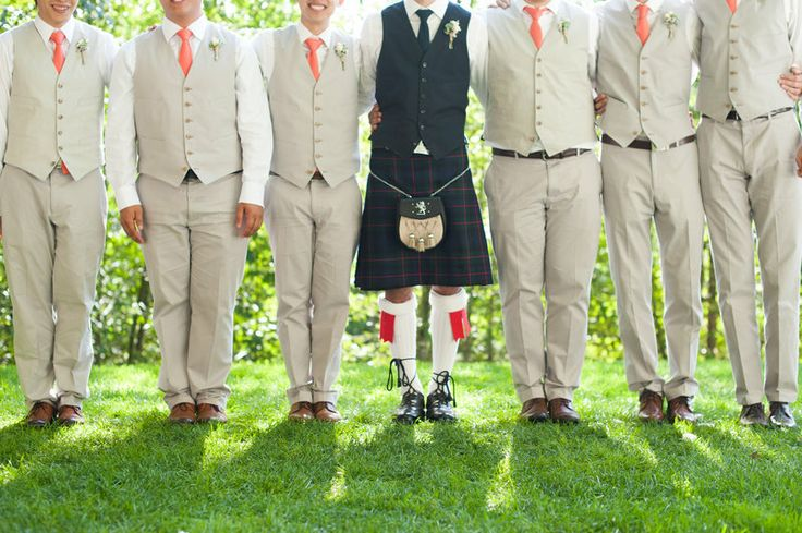 groom and groomsmen: summer outdoor wedding #kilt
