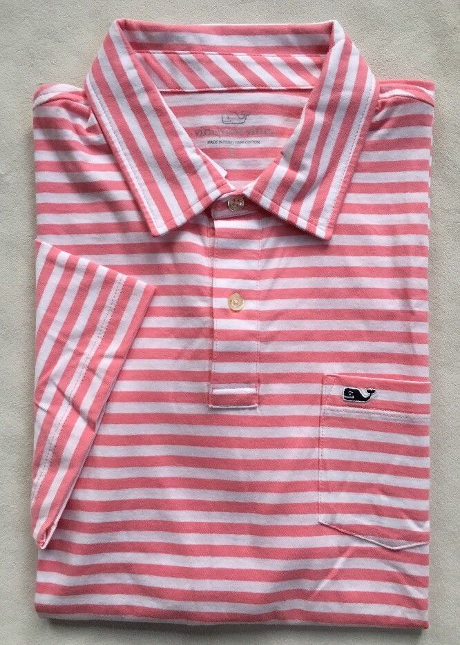 217fd488f7 VINEYARD VINES Mens Jersey Polo Golf Shirt Pink White Stripe Cotton NWT  LARGE #VineyardVines #PoloRugby