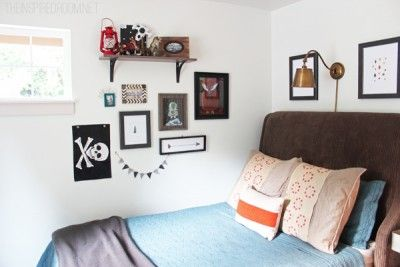 Eclectic Gallery Wall and Brass Reading Light
