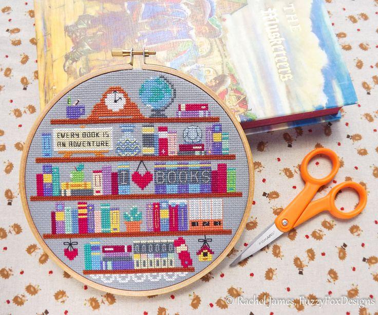 Book Lover's Shelf Bookshelf Easy Beginners Cross Stitch