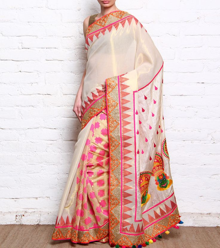Anita Kanwal - Light Gold Chanderi & Tussar Silk Saree With Kathakali Mask Embroidery CLICK ON THE PHOTO TO SHOP!