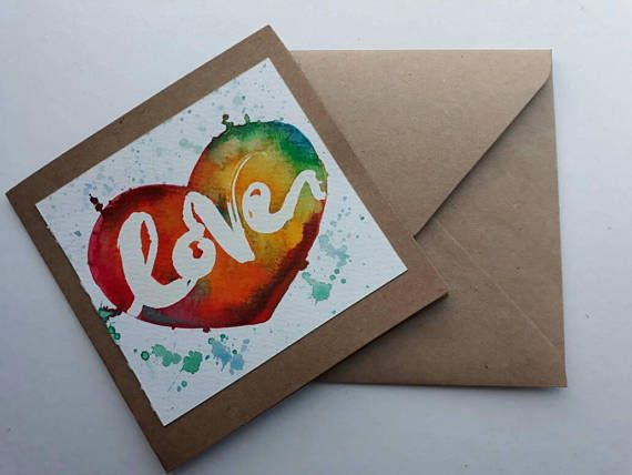 Original handpainted watercolour card with the words Love painted on using masking fluid on a rainbow style background in the shape of a heart - Please note no 2 cards look the same all individual - Perfect for that special someone. Love Card Card For Him Card For Her Handpainted Romance. £3.50 JazLovesArt #valentinesdaygiftideas #handpainted