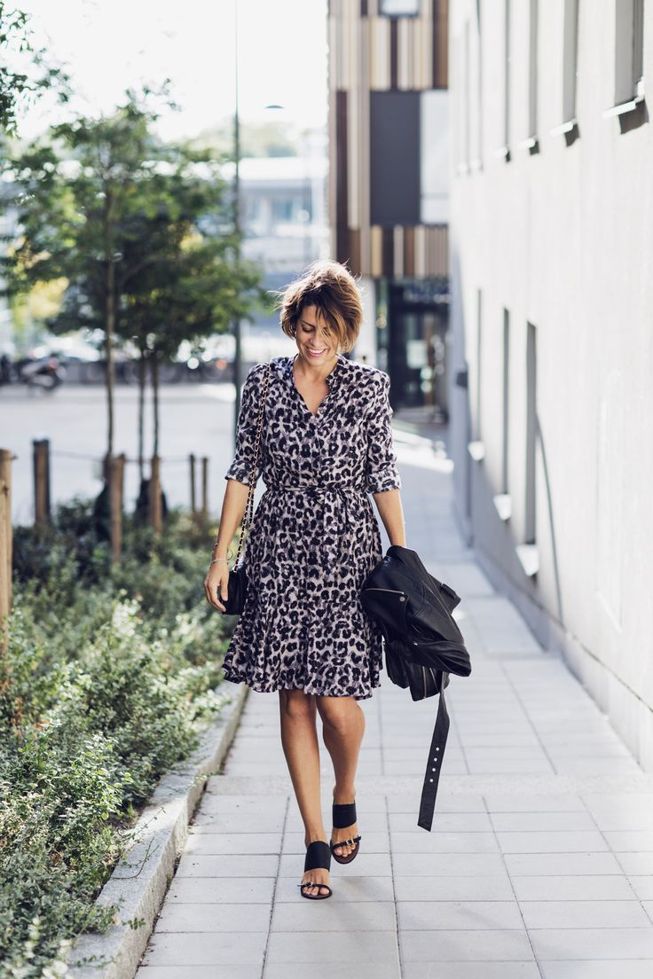 Nina Campioni look of the day! This outfit is dress from Part Two, leather jacket from Weekday, shoes from Asos and bag from Chanel. Welcome to my blog!