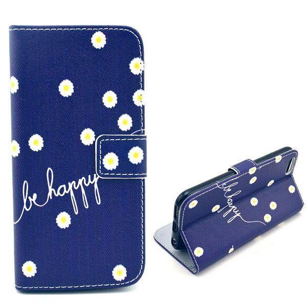 Be Happy blauwe bookcase hoesje voor iPhone 6