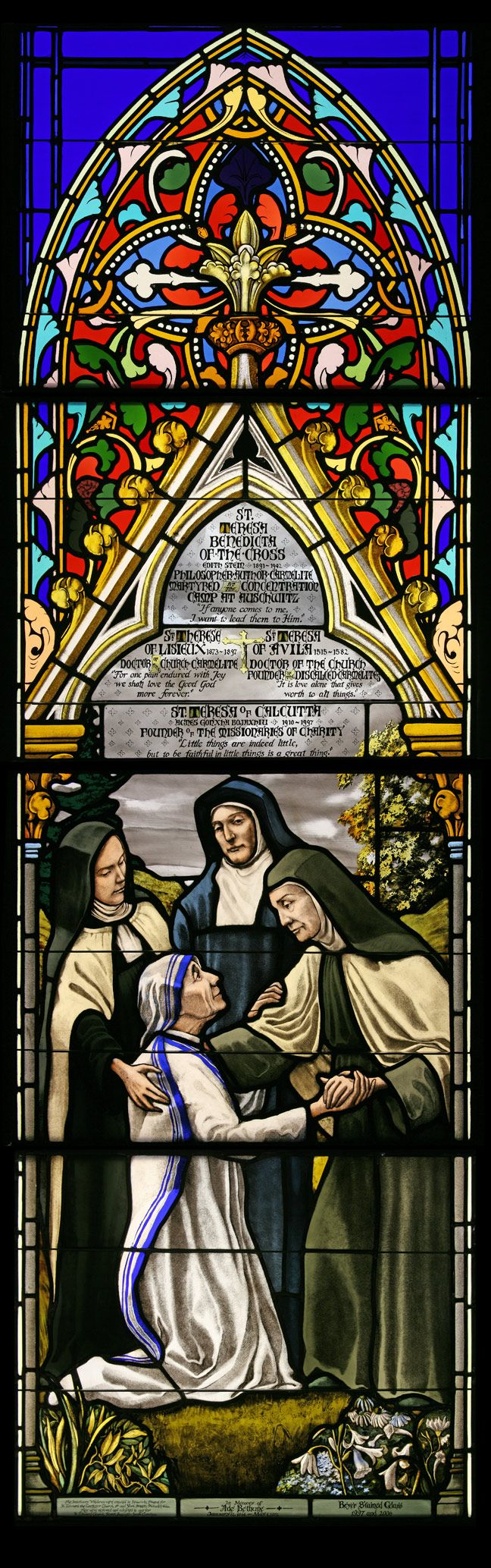 St. Therese Lisieux, St. Teresa of Avila, and St. Teresa Benedicta of the Cross (Edith Stein) welcoming St. Teresa of Calcutta. <3