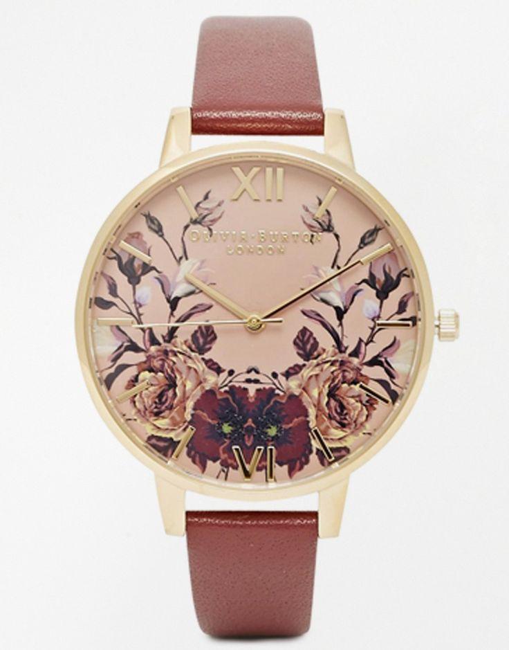 Image 1 - Olivia Burton - Montre à bracelet en cuir et cadran motif floral aux tons hivernaux effet miroir
