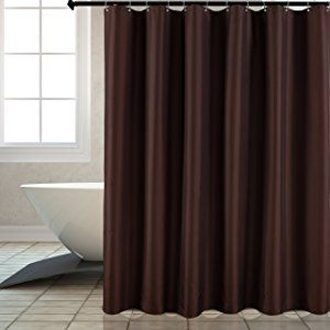 Fabric Shower Curtain Liner Waterproof Antibacterial Water Resistant Bathroom Curtain Set (Mold and Mildew Resistant), Chocolate, 72 by 72 Inch, includes 12 Hooks