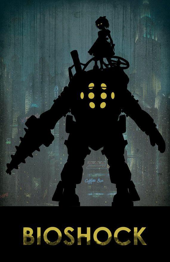 Bioshock Poster, Minimalist 11x17 Silhouette Art Bioshock Poster, Bioshock Big…