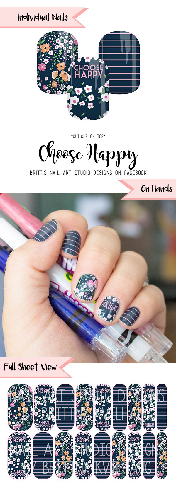 Choose Happy Nail Wraps by Jamberry. Want this cute little message every time you look down at your nails? Go and get them in my Marketplace!