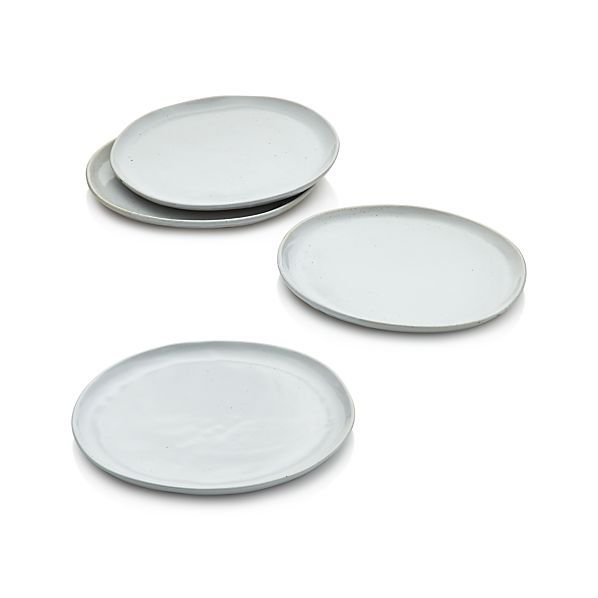 Set of 4 Welcome White Dinner Plates  | Crate and Barrel. On sale $46.95.