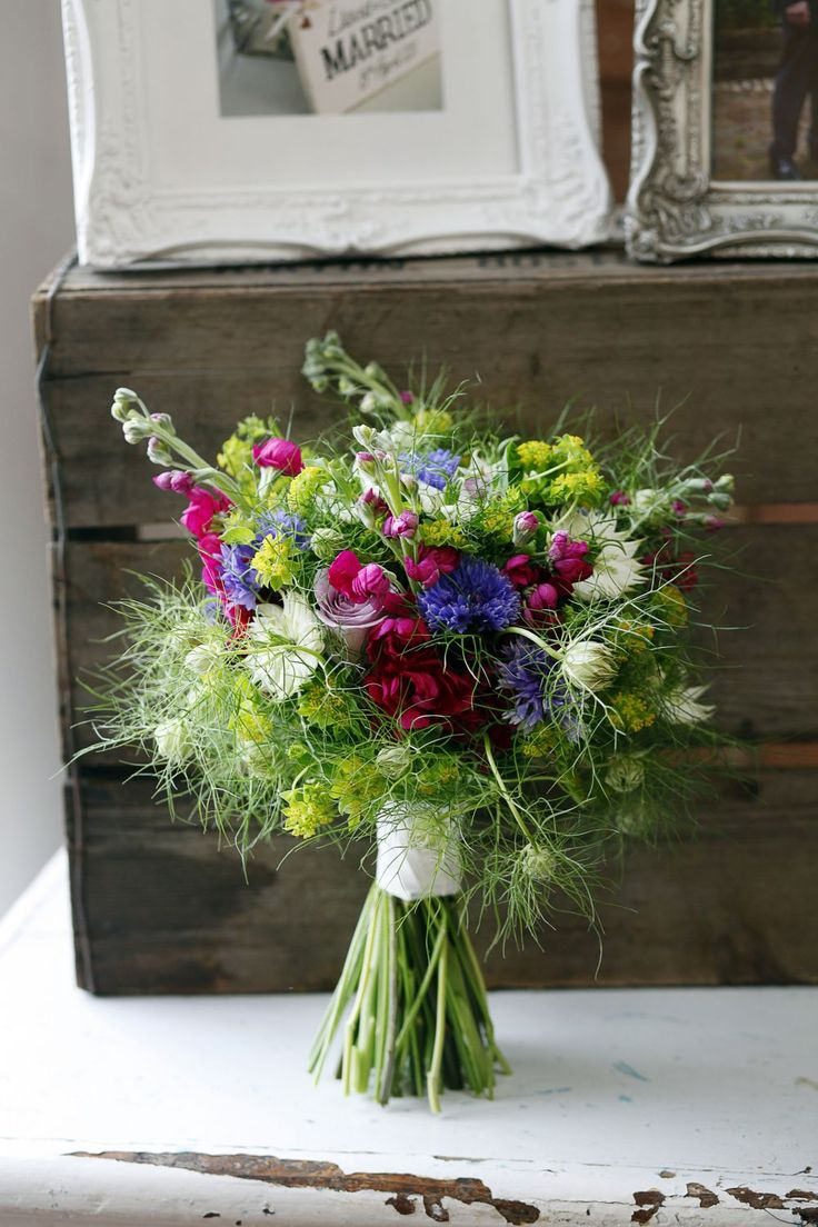 Hand-tied bouquet with love-in-a-mist