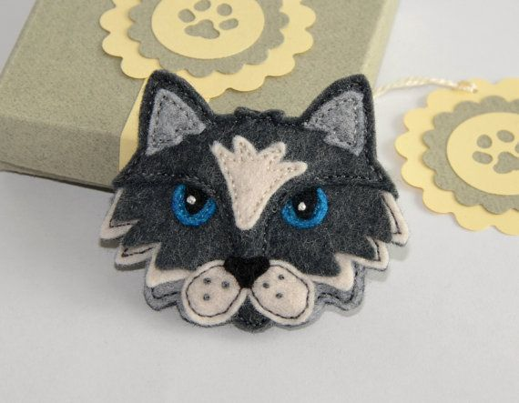 Felt Cat Brooch / Pin - Hand Stitched Black and White Cat Brooch Made From Wool Felt - in Handmade Gift Box