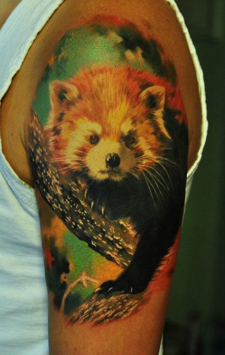 I am in love with this red panda tattoo. So realistic