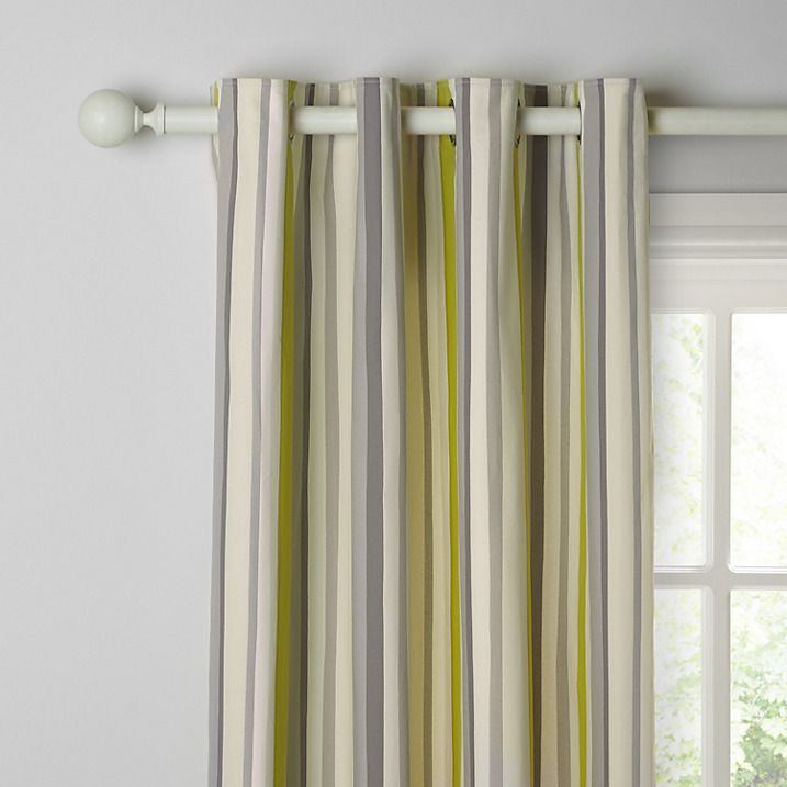 Buy John Lewis Alvar Stripe Lined Eyelet Curtains, Fennel, W167 x Drop 137cm…